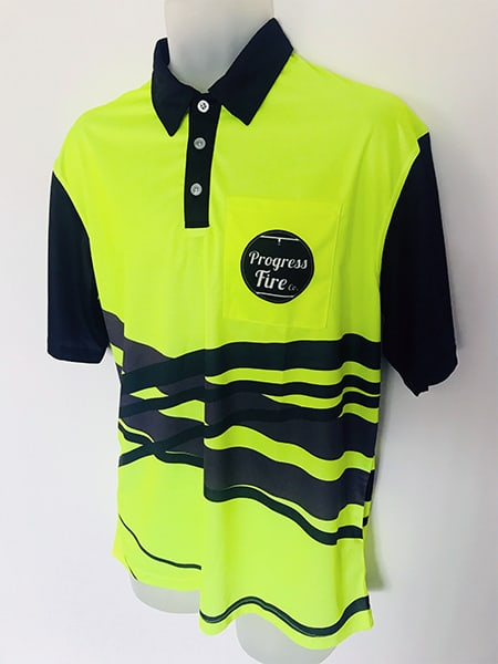 Printed (Sublimated) Long Sleeved Hi Vis Polo Shirt for Progress Fire