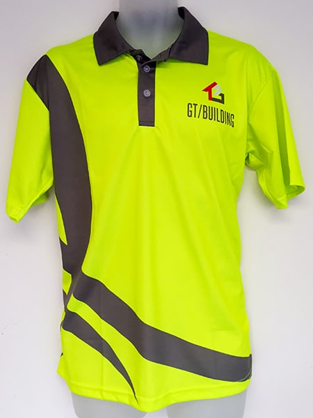 Lightweight Hi Vis Sublimated Printed Polo Shirt for GT Building - Custom Made Workwear