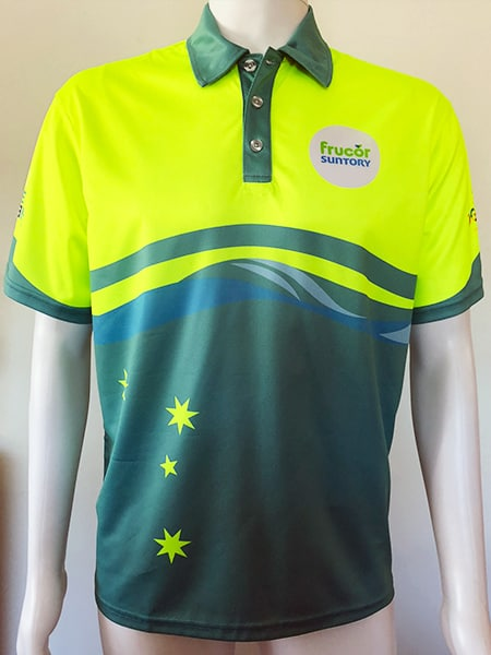 Customised Hi Vis Polo Shirt (front) for Frucor